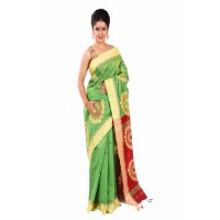 Handloom Embroidery Saree Green