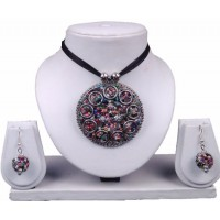 multi color pendant with earrings and black thread ( SOLD OUT )